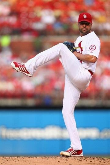 ST. LOUIS, MO - JULY 19: Starter Jake Westbrook #35 of the St. Louis Cardinals pitches against the San Diego Padres at Busch Stadium on July 19, 2013 in St. Louis, Missouri.  (Photo by Dilip Vishwanat/Getty Images) By Dilip Vishwanat