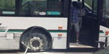 An image of a stolen AC transit bus after the driver was arrested on July 19, 2013.