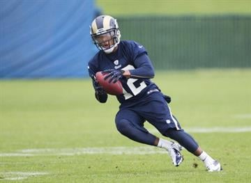 EARTH CITY, MO - MAY 10: Stedman Bailey (12) of the St. Louis Rams catches the ball during the 2013 St. Louis Rams rookie camp at Rams Park on May 10, 2013 in Earth City, Missouri. (Photo by David Welker/Getty Images) By David Welker