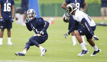 EARTH CITY, MO - MAY 10: Tavon Austin (11) of the St. Louis Rams makes a cut while performing a drill during the 2013 St. Louis Rams rookie camp at Rams Park on May 10, 2013 in Earth City, Missouri. (Photo by David Welker/Getty Images) By David Welker