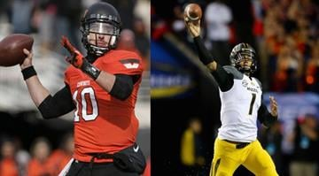 The Cotton Bowl will be the last college game for QBs Clint Chelf (left) and James Franklin (right)