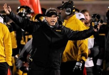 Missouri head coach Gary Pinkel yells on the sidelines during the second half of an NCAA college football game against Tennessee, Saturday, Nov. 2, 2013, in Columbia, Mo. (AP Photo/L.G. Patterson) By L.G. Patterson