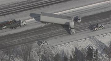 One person was killed in a wreck involving a semi truck on Interstate 44 in south St. Louis Monday. By Brendan Marks