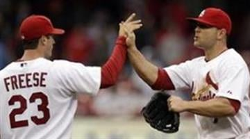 St. Louis Cardinals' David Freese, left, and teammate Matt Holliday celebrate the Cardinals' 4-2 victory over the Florida Marlins in a baseball game, Thursday, May 20, 2010, in St. Louis. (AP Photo/Jeff Roberson) By Belo Content KMOV