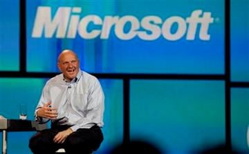 Microsoft CEO Steve Ballmer talks about Windows 8 during his keynote address at the 2012 International CES tradeshow,  Monday, Jan. 9, 2012, in Las Vegas.  (AP Photo/Julie Jacobson) By Julie Jacobson