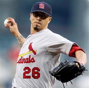 St. Louis Cardinals pitcher Kyle Lohse (26) delivers in the first inning during a baseball game against the Pittsburgh Pirates, Monday, Sept. 12, 2011, in Pittsburgh. (AP Photo/Gene J. Puskar) By Gene J. Puskar