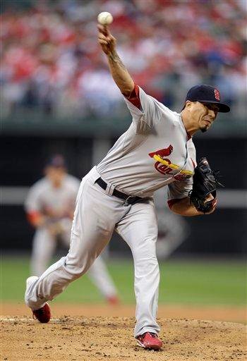 St. Louis Cardinals starter Kyle Lohse (26) throws a pitch during the first inning of Game 1 of baseball's National League division series against the Philadelphia Phillies, Saturday, Oct. 1, 2011 in Philadelphia. (AP Photo/Matt Slocum) By Matt Slocum