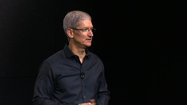 Apple CEO Tim Cook announces the iPhone 5 and 5C on Tuesday, September 10, 2013.