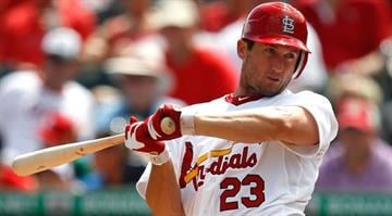 JUPITER, FL - MARCH 18:  David Freese #23 of the St. Louis Cardinals bats during a game against the Miami Marlins at Roger Dean Stadium on March 18, 2012 in Jupiter, Florida.  (Photo by Sarah Glenn/Getty Images) By Sarah Glenn