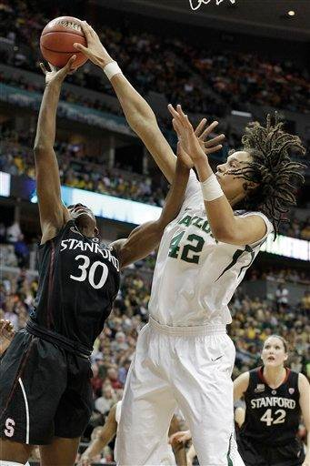 Baylor center Brittney Griner (42) blocks Stanford forward Nnemkadi Ogwumike (30) shot during the second half of an NCAA women's Final Four semifinal college basketball game, in Denver, Sunday, April 1, 2012. (AP Photo/Eric Gay) By Eric Gay
