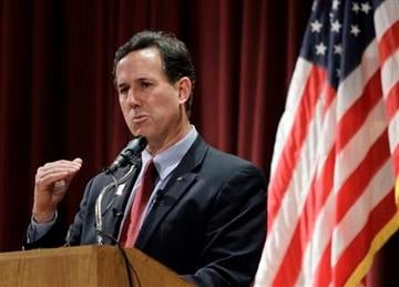 Republican presidential candidate, former Pennsylvania Sen. Rick Santorum speaks during a campaign rally at the El-Zaribah Shrine Auditorium, Tuesday, Feb. 21, 2012, in Phoenix, Arizona.  (AP Photo/Eric Gay) By Eric Gay