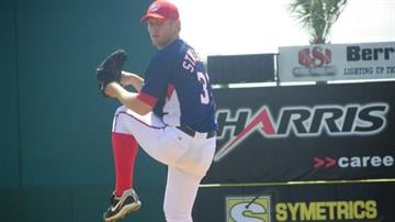 Nationals top prospect Stephen Strasburg warming up before his second appearance of Grapefruit League. By Lakisha Jackson