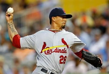 MIAMI, FL - APRIL 04: Kyle Lohse #26 of the St. Louis Cardinals pitches during Opening Day against the Miami Marlins at Marlins Park on April 4, 2012 in Miami, Florida.  (Photo by Mike Ehrmann/Getty Images) By Mike Ehrmann