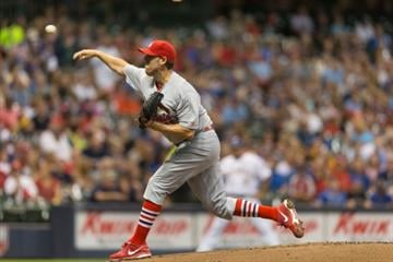 MILWAUKEE, WI - SEPTEMBER 5: John Lackey #41 of the St. Louis Cardinals pitches to a Milwaukee Brewers batter at Miller Park on September 5, 2014 in Milwaukee, Wisconsin.  (Photo by Tom Lynn/Getty Images) By Tom Lynn