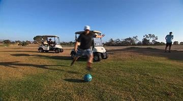 FootGolf is a soccer-golf hybrid that is being played on hundreds of courses across the U.S. It is like golf, except you use your feet and a soccer ball. FootGolf could bring new revenue to cources as the golf business declines. By Stephanie Baumer
