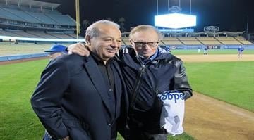 Larry King enjoy's his 80th birthday surprise party at Dodger Stadium with Carlos Slim (left). By Stephanie Baumer