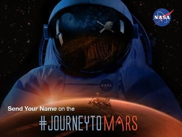NASA is inviting the public to send their John and Jane Does to destinations beyond low-Earth orbit, including Mars. Names submitted online will fly on a dime-sized microchip aboard an Orion spacecraft that launches on December 4, 2014. By NASA