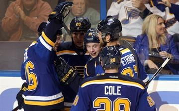 St. Louis Blues Vladimir Tarasenko (91) is mobbed by teammates after scoring a goal in the third period against the New York Rangers at the Scottrade Center in St. Louis on October 9, 2014. New York won the game 3-2. UPI/Bill Greenblatt By BILL GREENBLATT