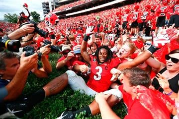 ATHENS, GA - SEPTEMBER 27:  Todd Gurley #3 of the Georgia Bulldogs celebrates their 35-32 win over the Tennessee Volunteers at Sanford Stadium on September 27, 2014 in Athens, Georgia.  (Photo by Kevin C. Cox/Getty Images) By Kevin C. Cox