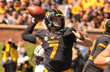 Mizzou Tigers quarterback Maty Mauk prepares to pass the football in the first quarter against the University of Central Florida Knights at Faurot Field in Columbia, Missouri on September 13, 2014. Missouri won the game 38-10.     UPI/Bill Gutweiler
