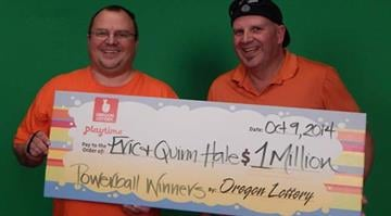 Eric Hale split his $1 million Powerball jackpot with his brother Quinn.