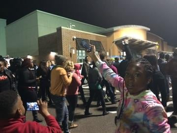 Protesters outside a Maplewood Walmart By Ruella Rouf