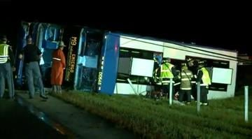 An accident between a passenger bus and a car on I-65 in Indiana closed the highway for a period of time on Tuesday morning, October 14, 2014. According to CNN affiliate WXIN, 54 people were on board the bus. By Stephanie Baumer