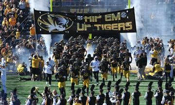 The Mizzou Tigers take the field for a game against the University of Central Florida Knights at Faurot Field in Columbia, Missouri on September 13, 2014. Missouri won the game 38-10.     UPI/Bill Gutweiler By Bill Gutweiler