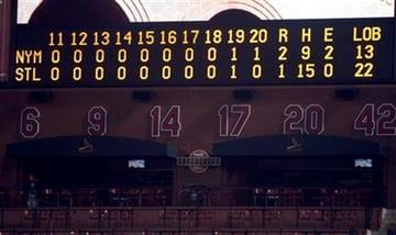 The scoreboard is seen after a 20 inning baseball game between the St. Louis Cardinals and New York Mets Saturday, April 17, 2010, in St. Louis. The Mets won 2-1 in 20 innings. (AP Photo/Jeff Roberson) By Jeff Roberson