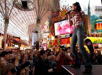 Joey Martin Feek, of the country music duo Joey & Rory, performs at the Fremont Street Experience during the Academy of Country Music Weekend in Las Vegas on Saturday, April 17, 2010. (AP Photo/Matt Sayles) By Matt Sayles