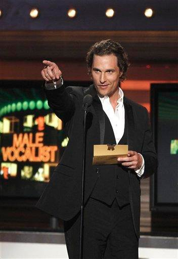 Matthew McConaughey is seen on stage at the 45th Annual Academy of Country Music Awards in Las Vegas on Sunday, April 18, 2010.  (AP Photo/Matt Sayles) By Matt Sayles