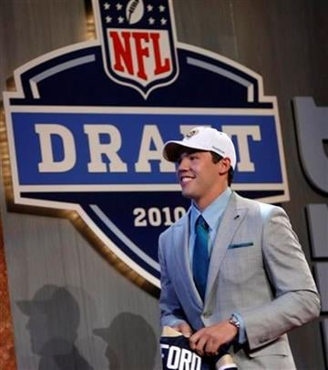 Oklahoma quarterback Sam Bradford smiles after he was selected as the No. 1 overall pick by the St. Louis Rams in the first round of the NFL Draft at Radio City Music Hall, Thursday, April 22, 2010, in New York.  (AP Photo/Jason DeCrow) By Jason DeCrow