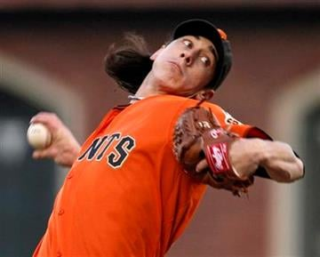 San Francisco Giants starting pitcher Tim Lincecum works against the St. Louis Cardinals in the first inning of their baseball game in San Francisco, Friday, April 23, 2010.  (AP Photo/Eric Risberg) By Eric Risberg