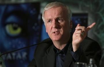 Hollywood film maker James Cameron speaks during a news conference about the launching of the movie Avatar in Blue-Ray Disc and DVD in Sao Paulo, Sunday, April 11, 2010. (AP Photo/Andre Penner) By Andre Penner