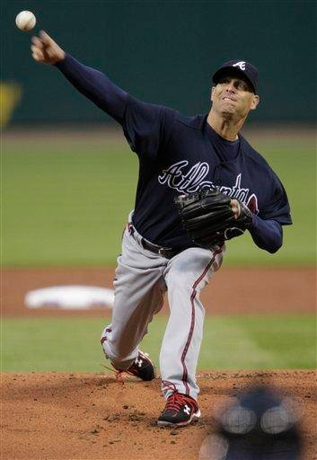 Atlanta Braves starting pitcher Tim Hudson pitches in the first inning of a baseball game against the St. Louis Cardinals, Monday, April 26, 2010 in St. Louis.(AP Photo/Tom Gannam) By Tom Gannam
