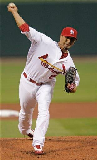 St. Louis Cardinals starting pitcher Kyle Lohse pitches in the first inning of a baseball game against the Atlanta Braves, Monday, April 26, 2010 in St. Louis.(AP Photo/Tom Gannam) By Tom Gannam