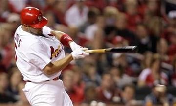 St. Louis Cardinals' Albert Pujols doubles in the sixth inning of a baseball game against the Atlanta Braves, Wednesday, April 28, 2010, in St. Louis. (AP Photo/Tom Gannam) By Tom Gannam