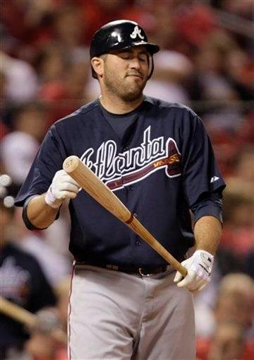 Atlanta Braves first baseman Troy Glaus reacts to a called strike in the eighth inning of a baseball game against the St. Louis Cardinals, Wednesday, April 28, 2010, in St. Louis.(AP Photo/Tom Gannam) By Tom Gannam