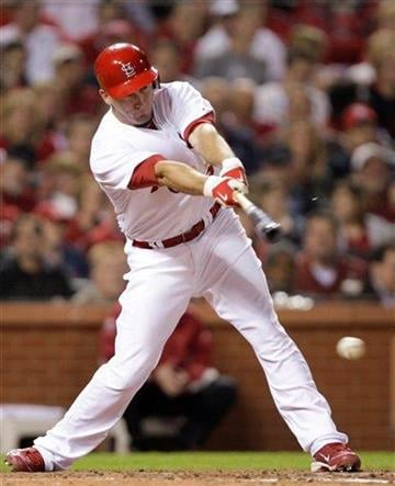 St. Louis Cardinals' David Freese connects for a two-RBI single in the sixth inning of a baseball game against the Atlanta Braves, Wednesday, April 28, 2010, in St. Louis.(AP Photo/Tom Gannam) By Tom Gannam