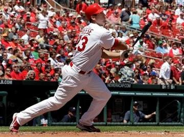 St. Louis Cardinals' David Freese hits a three-run home run during the first inning of a baseball game against the Atlanta Braves Thursday, April 29, 2010, in St. Louis. (AP Photo/Jeff Roberson) By Jeff Roberson
