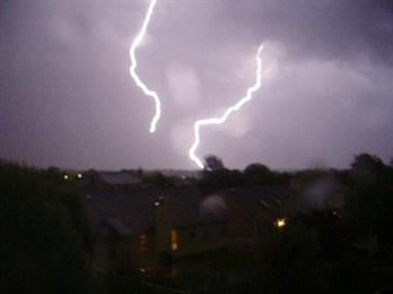 Dual lightning strikes near South County. By KMOV Web Producer