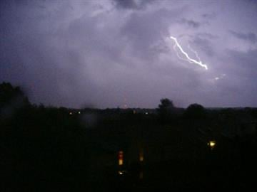 Lightning streaks in the air near South County. By KMOV Web Producer