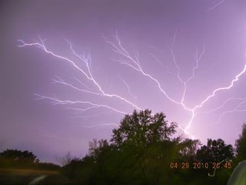 Lightning streaks across the sky near Hollywood Heights Road and Illinois 159. By KMOV Web Producer