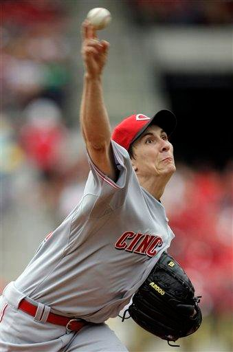 Cincinnati Reds starting pitcher Homer Bailey throws during the first inning of a baseball game against the St. Louis Cardinals, Saturday, May 1, 2010, in St. Louis. (AP Photo/Jeff Roberson) By Jeff Roberson