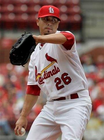 St. Louis Cardinals starting pitcher Kyle Lohse throws during the first inning of a baseball game against the Cincinnati Reds, Saturday, May 1, 2010, in St. Louis. (AP Photo/Jeff Roberson) By Jeff Roberson