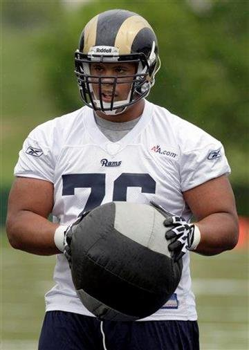 St. Louis Rams second-round draft pick offensive tackle Rodger Saffold takes part in drills during rookie NFL football minicamp Friday, April 30, 2010, in St. Louis. (AP Photo/Jeff Roberson) By Jeff Roberson