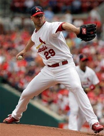 St. Louis Cardinals starting pitcher Chris Carpenter throws during the first inning of a baseball game against the Cincinnati Reds on Sunday, May 2, 2010, in St. Louis. (AP Photo/Jeff Roberson) By Jeff Roberson