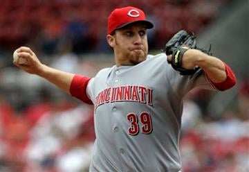 Cincinnati Reds starting pitcher Aaron Harang throws during the first inning of a baseball game against the St. Louis Cardinals on Sunday, May 2, 2010, in St. Louis. (AP Photo/Jeff Roberson) By Jeff Roberson