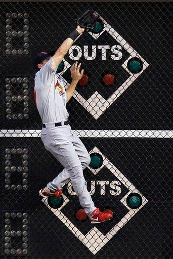 St. Louis Cardinals' Ryan Ludwick scales the wall to catch a deep fly out by Philadelphia Phillies' Chase Utley in the first inning of a baseball game, Monday, May 3, 2010, in Philadelphia. (AP Photo/Matt Slocum) By Matt Slocum