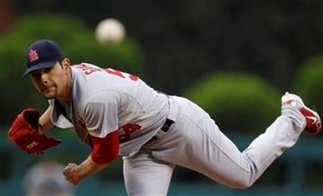 St. Louis Cardinals' Jaime Garcia pitches in the first inning of a baseball game against the Philadelphia Phillies, Monday, May 3, 2010, in Philadelphia. St. Louis won 6-3. (AP Photo/Matt Slocum) By Matt Slocum